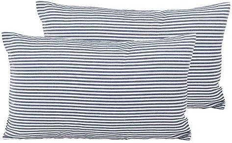 Shamrockers Farmhouse Striped Lumbar Throw Pillow Cover Decorative Cotton Linen Ticking Pillowcase product image