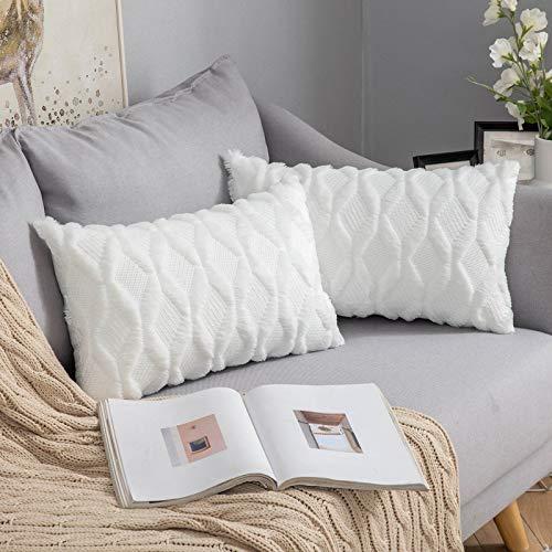 MIULEE 2er Set Wolle Kissenbezüge Dekokissen Polyster Sofakissen Weich Couchkissen Kissenbezug Zierkissenbezug mit Verstecktem Reißverschluss für Wohnzimmer Schlafzimmer 30x50 cm Reines Weiß