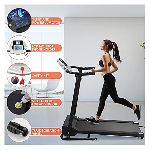 VICASKY 1.5PS Laufband Elektrisch Klappbar Leise,1-10km/h Laufband Elektrisch Klappbar mit Steigung Elektrisches Klappbarer Laufband mit 12 Programmen,Elektrisches Klappbarer Laufband mit Herzfrequenz
