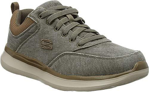 Skechers Herren Delson 2.0 Kemper Sneaker, Grün (Khaki Canvas Khk), 43 EU