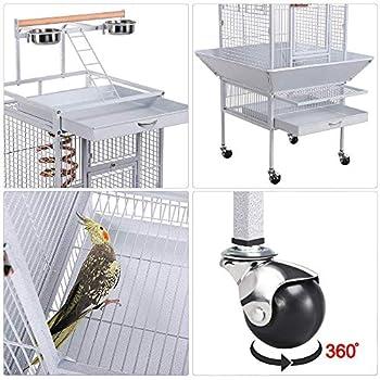 Yaheetech Grande Cage Perroquet Volière Spacieuse pour Oiseaux Cacatoès Perruches 66,5 x 65,6 x 156,5 cm Total Blanc
