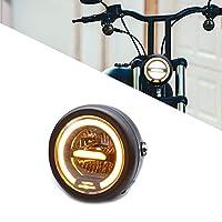 ユニバーサルなレトロモーターサイクルLEDヘッドライトCG125 GN12 56.5インチモーターサイクルレトロブラックメタルLEDヘッドライトライトデイタイムランニングライト