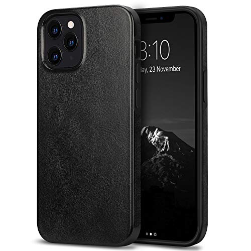 TENDLIN Compatible with iPhone 12 Pro Max Case Premium Leather TPU Hybrid Case (Black)