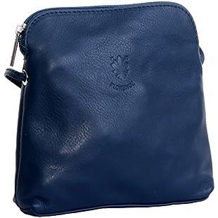 Primo Sacchi® Italian Soft Leather Hand Made Small/Micro Navy Blue Cross Body Shoulder Bag Handbag. Includes Branded Protective Storage Bag.