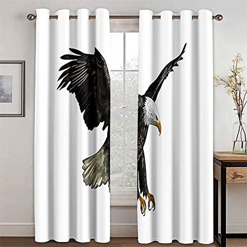 YUNSW Cortinas De Impresión De Águila 3D Cortinas De Fibra De Poliéster Opacas para Sala De Estar, Dormitorio, Cocina, Juego De 2 Piezas (Total Width) 234x(Height) 230cm