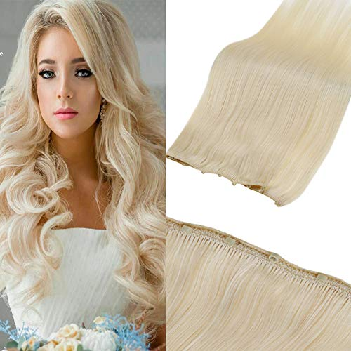 LaaVoo Micro Ring Hair Weft Extensions Platinum Blonde