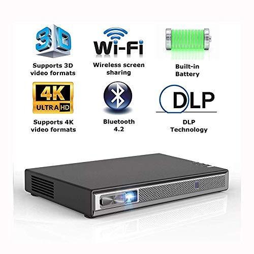 Mini Beamer,Projector Hd,Praktische Projector 6600s UnterstüTzt 4k Leistungsstarke Lautsprecher 35 Stunden Wiedergabe Drahtlosen Bildschirm Teilt Tragbare 3D-Dual-WiFi Bluetooth Hdmi