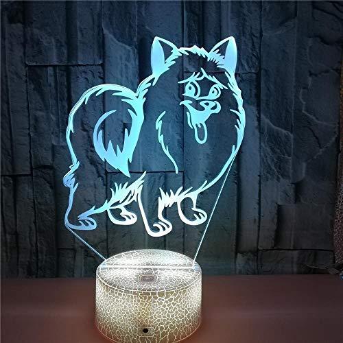 Perro Luz Noche 3D, 7 Del Tacto Del Color Lámpara Ilusión Óptica Led, Con Control Remoto Usb Decoración Lámpara Escritorio, Para Regalos De Cumpleaños Niños Y Adultos