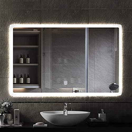 SXFYMWY Espejo de Maquillaje Rectangular de baño con luz LED Moderno montado en la Pared Inteligente de un Solo Toque Antiniebla Luz de Doble Color HD Impermeable Espejo cosmético
