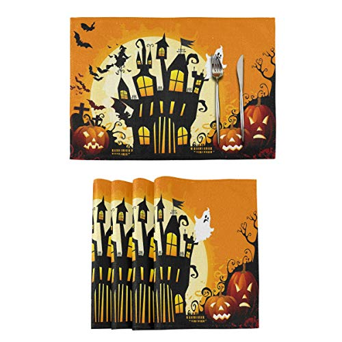 Happy Halloween Placemats Tables Mats Set of 1 for Kitchen Dining Pumpkin Ghosts Trick or Treat Double Sided Tablemats Place Mats Farmhouse Tablemats for Holiday Wedding Party Home Decoration