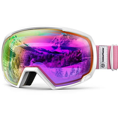 OutdoorMaster OTG Ski Goggles - Over Glasses Ski / Snowboard Goggles for Men, Women & Youth - 100% UV Protection (White Frame + VLT 45% Purple Lens with Full REVO Red)