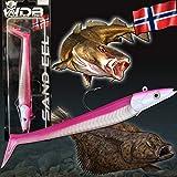 Angel-Berger Wild Devil Baits Sand EEL Sandaal Meeres Shad Gummifisch (Hot Pink, 150g)