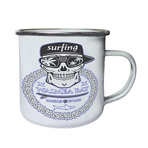 Waimea Bay Hawaï Skull Surf Rétro, étain, émail tasse 10oz/280ml y527e