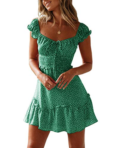 Yobecho Womens Summer Ruffle Sleeve Sweetheart Neckline Printing Dress Mini Dress Green