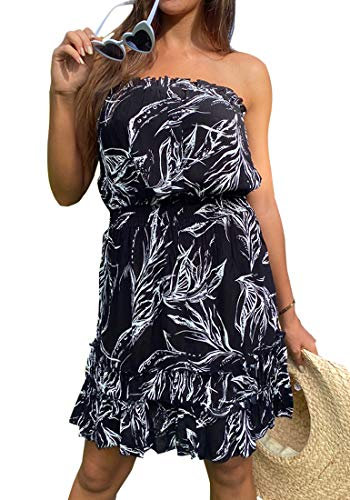 QegarTop Women's Strapless Summer Beach Dresses Coverup Sleeveless Short Beach Sundress Black