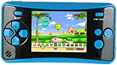 """HigoKids Portable Handheld Games for Kids 2.5\\"""" LCD Screen Game Console TV Output Arcade Gaming Player System Built in 182 Classic Retro Video Games Birthday for Your Boys Girls (Blue)"""