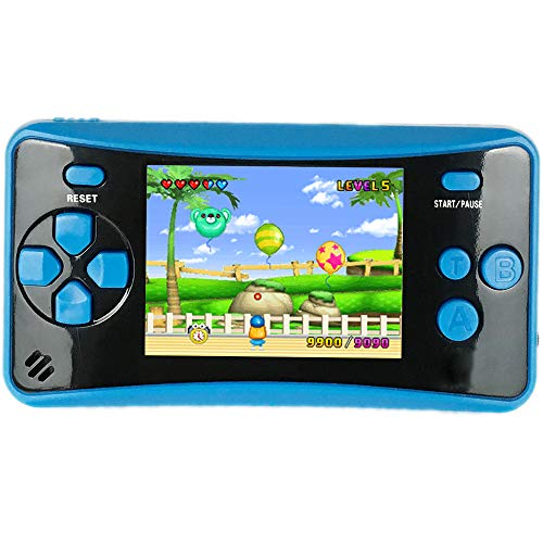 HigoKids Portable Handheld Games for Kids 2.5  LCD Screen Game TV Output Arcade Gaming Player System Built in 182 Classic Retro Video Games Birthday for Your Boys Girls (Blue)