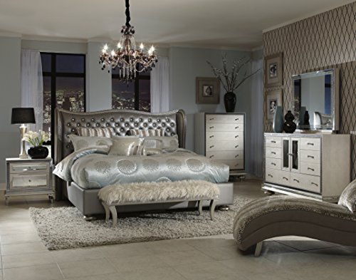 Hot Sale Hollywood Swank California King Graphite Bedroom Set By Aico Amini