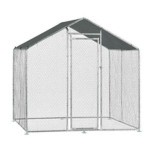 Pro-Tec Freilaufgehege Freigehege 2x2x2m Tierlaufstall mit Sonnenschutz Kleintierstall Hühnerstall Hühnerkäfig Voliere - 5