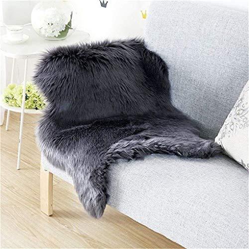 KAIHONG Faux Lammfell Schaffell Teppich (60 x 90 cm) Lammfellimitat Teppich Longhair Fell Optik Nachahmung Wolle Bettvorleger Sofa Matte (Schwarz, 60 x 90 cm)