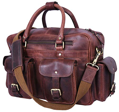 Addey Supply Company 14' Leather Messenger Bag for Laptop 14 X 4.5 X 11 inch Saddle