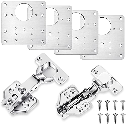 Cabinet Door Hinge Plate Kit Hinge Repair Plate with Hinges and Mounting Screws, Fix the Hinged Stainless Steel Door Panels Kit Hinge Installation Accessory for Cabinet Furniture Drawer Window