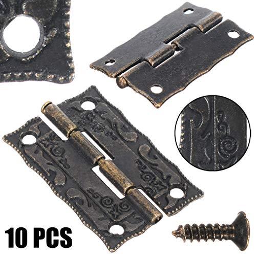 10Pcs 35 * 28mm antike Messingscharniere Mini Vintage Brass Scharniere für Holzmöbel AndGift Box Part Zubehör