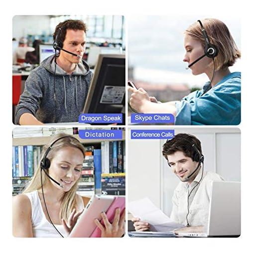 USB Auriculares con Micrófono, Auriculares con Cable Sonido Estéreo y Micrófono USB con Supresión de Ruido Cascos… 7