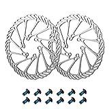 Newgoal 2 rotores de bicicleta de montaña 180mm, disco de freno de bicicleta de acero inoxidable, con 12 tornillos, adecuado para la mayoría de bicicletas de carretera, bicicletas de montaña