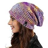 Women Oversized Slouchy Beanie Knit Hat Colorful Long Baggy Skull Cap for Winter (Purple/Multi)