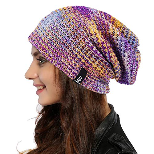 Ruphedy Women Oversized Slouchy Beanie Knit Hat Colorful Long Baggy Skull Cap for Winter...