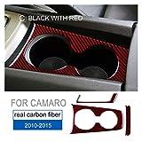 loulou Ajuste para Chevrolet Camaro 2010 2011 2013 2013 2014 2015 Accesorios Accesorios de Fibra de Carbono Interior de la Fibra de Carbono Pegatina del Titular de la Taza de Agua