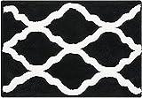 Pauwer Alfombrilla de baño de microfibra, antideslizante, absorbente, lavable, para cuarto de baño, salón (negro, 45 x 65 cm)
