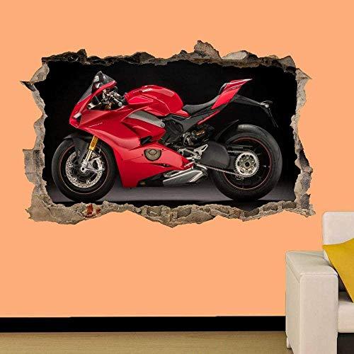 HUJL Pegatinas de pared Racing Red Moto Sticker Mural 3D Art Mural Bureau