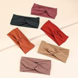 Wide Headbands for Wigs Non Slip Knit Elastic Headbands for Women Girls Boho Cute Hair Accessories Solid Color Hair Bands 6pcs