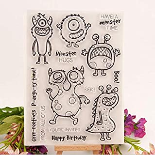Welcome to Joyful Home 1pc Have a Monster time Monster Hugs Rubber Clear Stamp for Card Making Decoration and Scrapbooking