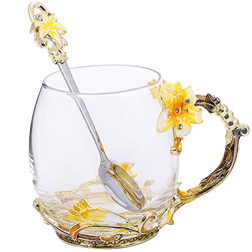 Handmade Glass Teacup with Spoon Set