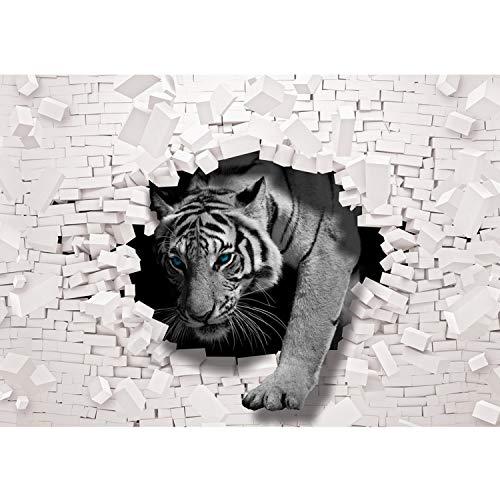 Vlies Fototapete PREMIUM PLUS Wand Foto Tapete Wand Bild Vliestapete - Tiger Mauer Durchbruch - no. 3309, Größe:254x184cm Blueback Papier