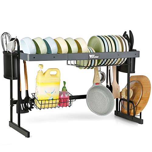 Over The Sink Dish Drying Rack Amzdeal 2Tier Adjustable Dish Rack Drainer 304 Stainless Steel Dish Rack Over Sink Kitchen Organizer Storage Space Saver for Countertop with 10 Utility Hooks