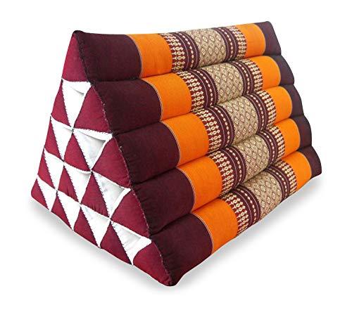 livasia Großes Dreieckskissen als Rückenstützkissen, Thaikissen BZW. Keilkissen, Nackenkissen fürs Bett (orange)