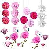 SUPVOX 22PCS Pink Flamingo Party Honeycomb Decoration, Pom Poms Paper Summer Birthday Party Decoraciones Kit