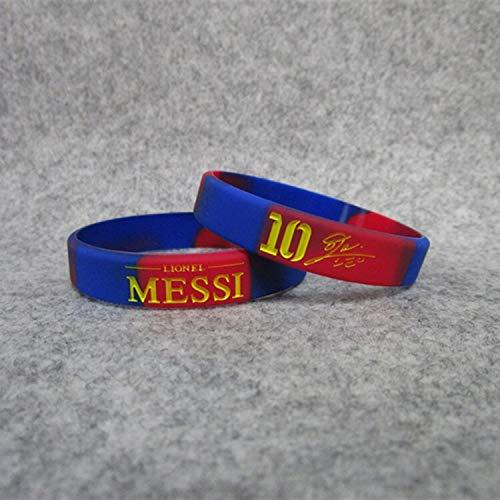 ZWH Equipo de fútbol de la Estrella Lionel Messi de Barcelona Nº 10 de la Firma Deportiva de Silicona Luminosa de Pulseras Brazalete de joyería Ventiladores (Color : Color in, Size : 17CM)