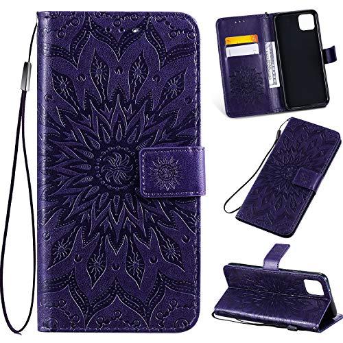 Google Pixel 4 Case,Google Pixel 4 Wallet Case,Flip Case PU Leather Emboss Mandala Sun Flower Folio Magnetic Kickstand Cover with Card Slots for Google Pixel 4 Purple