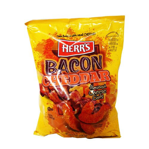 Herr's Bacon Cheddar Cheese Curls, 7 Ounce (Pack of 9)