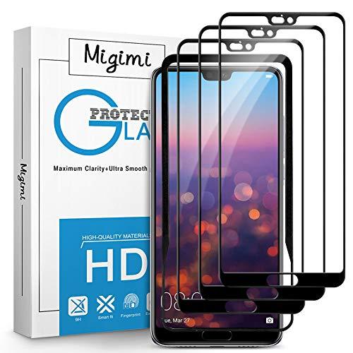 Migimi Verre Trempé pour Huawei P20 [Lot de 3], 9H Dureté Film Protection écran, Couverture Complète, Anti-Rayures, sans Bulles, Haute Définition Film de Protection d'écran pour Huawei P20
