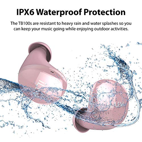 iLuv TB100 Rose Gold True Wireless Earbuds Cordless in-Ear Bluetooth 5.0 with Hands-Free Call Microphone, IPX6 Waterproof Protection, High-Fidelity Sound; Includes Compact Charging Case & 3 Ear Tips 4
