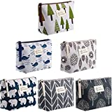 6 Pieces Canvas Makeup Bags Printed Cosmetic Bags Multi-Function Travel Organizer Pouches with Zipper Toiletry Bag Accessories for Women Girls (Tree Style)
