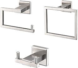 Turs 3 piezas de baño accesorio conjunto sus 304 inoxidable acero inodoro soporte de papel toalla bar/soporte albornoz gancho de pared, Níquel cepillado, Q6008BR
