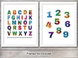 Alphabet Numbers Art Print Set- Watercolor Wall Art Posters - Chic Modern Home Decor for Boys, Girls Room,...