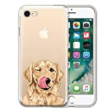 FINCIBO Case Compatible with Apple iPhone 7/8 4.7 inch/iPhone SE 2020, Clear Transparent TPU Protector Case Cover Soft Gel for iPhone 7/8 / SE (NOT FIT 7 Plus) - Cute Winking Golden Retriever